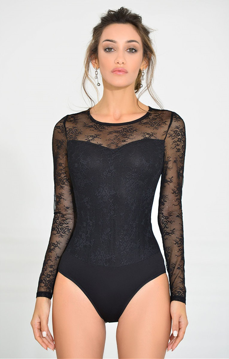 Купить черный кружевной боди с длинным рукавом, порно одна на всех юнгам